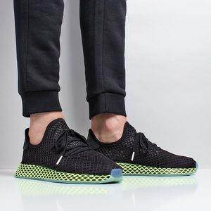 big sale f9405 841ef adidas Shoes - Adidas Deerupt Runner - Black Ash Blue Neon Green